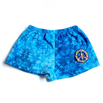 Image Blue Tie Dye Groovy Peace Fuzzy Pajama Shorts
