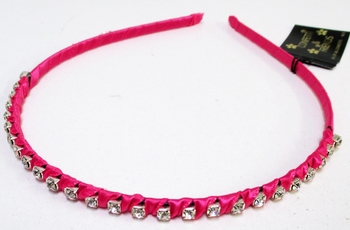Image Rhinestone and Ribbon Wrapped Bright Headband