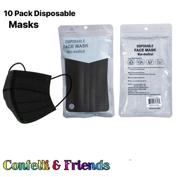 Image Black Disposable Mask 10 Pack