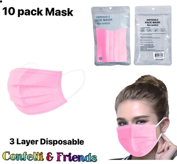 Image Pink Disposable 10 Pack Mask