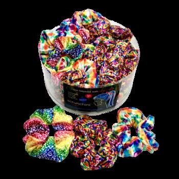 Image Rainbow Pattern Velvet Scrunchie