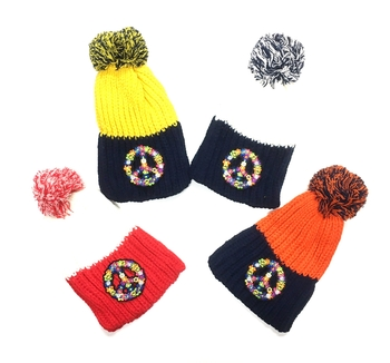 Image Groovy Peace Pom Pom Hat