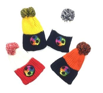 Image Rainbow Soccer Pom Pom Hat