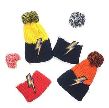 Image Lightening Bolt Pom Pom Hat