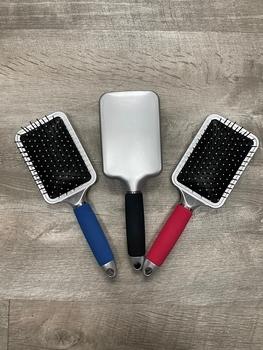 Image Silver Paddle Brush with Cushion Handle