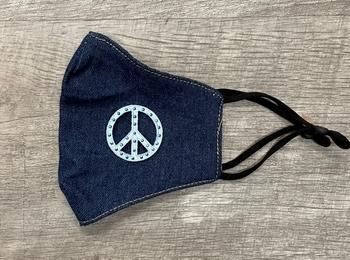 Image Denim with Rhinestud Peace Mask