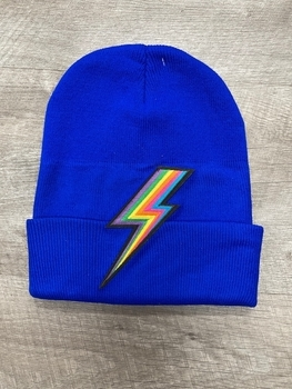 Image Knit Hat with Lightening Bolt