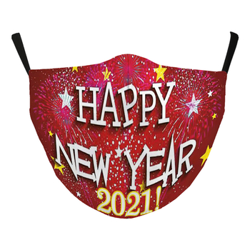 Image Happy New Year Red Adjustable Mask