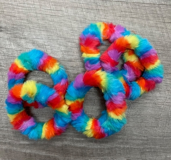 Image Rainbow Mini Faux Fur Scrunchie