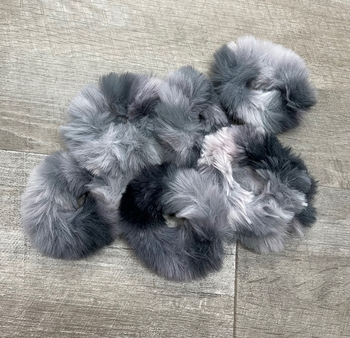 Image Black & Grey Faux Fur Scrunchie