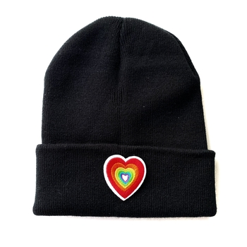 Image Knit Hat with Rainbow Heart