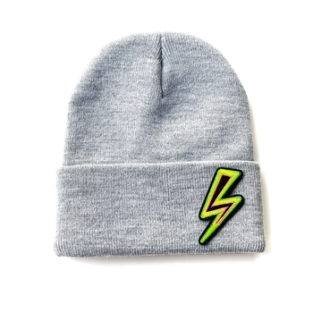 Image Knit Beanie with Neon Lightening Bolt