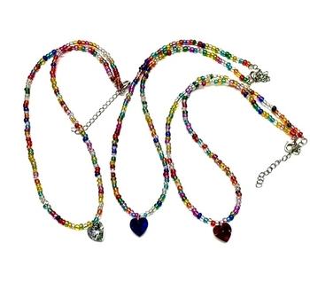 Image Beaded Necklace with Rhinestone Heart
