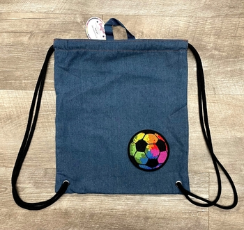 Image Denim Sling with Rainbow Soccer Ball