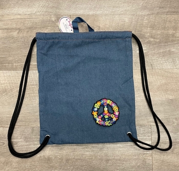 Image Denim Sling Bag With Groovy Peace Sign