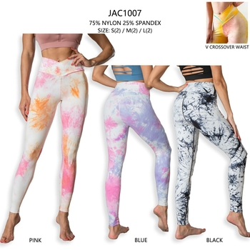 Image Black Solid Crossover Tie Dye High Rise Legging