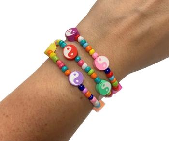 Image Rainbow Yin Yang Beaded Stretch Bracelets