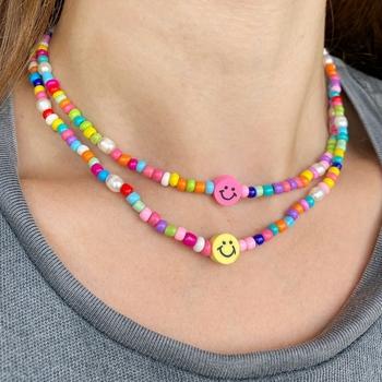 Image Rainbow Bead Smile Necklace
