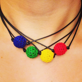 Image Crochet Bead Choker Camp Colors