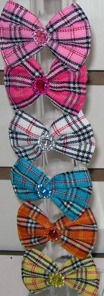 Image Plaid Bow Pony Pair