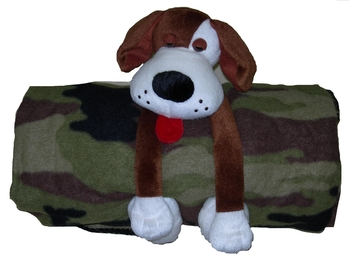 Image Fleece Camo Rolled Blanket With Dog