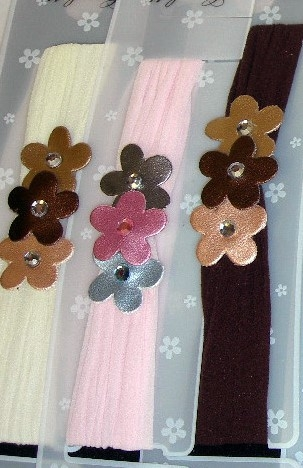 Image Metallic Triple Flower Stocking Headband