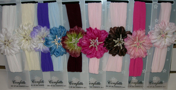 Image Flower/Pearls Stocking Headband