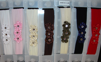 Image Fashion Triple Satin Flower Stocking Headband