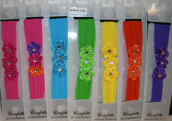Image Brite Triple Satin Flower Stocking Headband