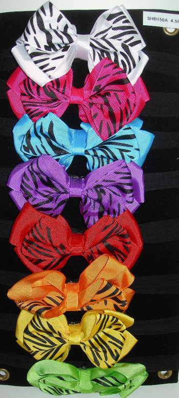 Image Zebra Bow on Stocking Headband