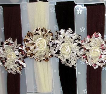 Image Leopard/Lace Flower Stocking Headband