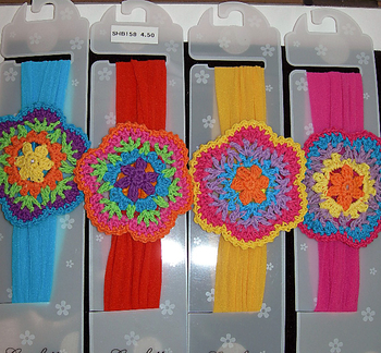 Image Large Multi Crochet Flower Stocking Headband