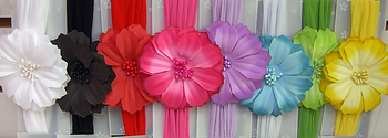 Image Satin Flower Stocking Headband
