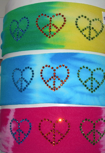 Image Rhinestone Heart Tie Dye Micro Fiber Headband